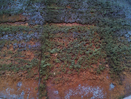 The old wall of the house with moss due to high humidity, traces of destruction and time. Grunge background. Background texture. Vintage pattern. Natural pattern. Vintage effect. Standard-Bild - 136448008