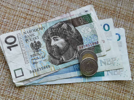 Polish Zloty. Official Currency of Poland in Denominations. Zlotych Macro Shot. Bank of Poland, Narodowy Bank Polski. Standard-Bild - 137051494