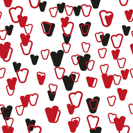 Valentine's day. Seamless pattern in sketch style on white background. Cover design with hearts. Romantic vector illustration. Textile print design. Love background. Beautiful vector pattern Standard-Bild - 137051531