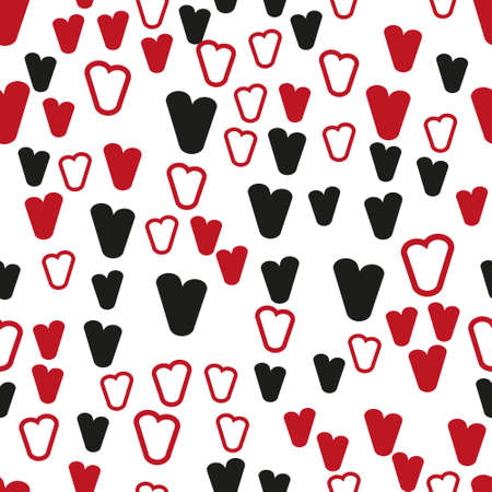 Valentine's day. Seamless pattern in sketch style on white background. Cover design with hearts. Romantic vector illustration. Textile print design. Love background. Beautiful vector pattern Standard-Bild - 137051534