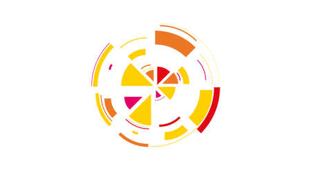 Color wheel. Simple drawing with slices, triangles, lines arranged in a circle to create footages, layouts, logos, screensavers in a dynamic style. Vector graphics. Graphic element. Design template. Standard-Bild - 140282913