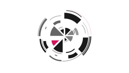 Color wheel. Simple drawing with slices, triangles, lines arranged in a circle to create footages, layouts, logos, screensavers in a dynamic style. Vector graphics. Graphic element. Design template. Logo