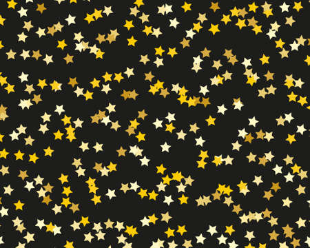 Gold stars background. Invitation, greeting card. Graphic vector design. Happy birthday, party. Gold background. Christmas abstract. Glowing invitation template. Falling glitter. Standard-Bild - 140358185