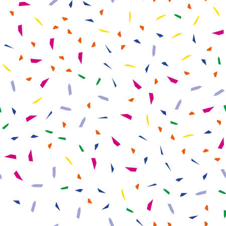 Falling confetti, seamless pattern, festive background. Cover design. Happy christmas pattern. Festival decor. Textile print design. Isolated object. Colorful background vector. Paper texture. Standard-Bild - 140358189