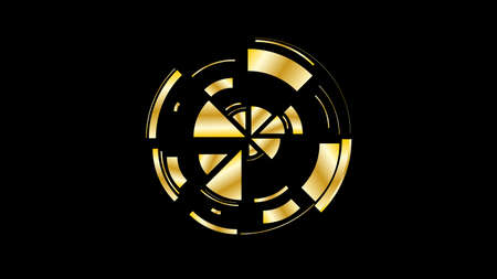 Gold wheel. Simple drawing with slices, triangles, lines arranged in a circle to create footages, layouts, logos, screensavers in a dynamic style. Vector graphics. Graphic element. Design template.