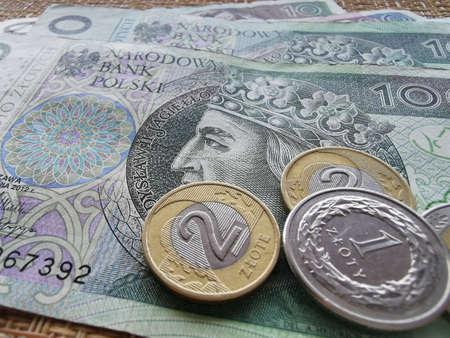 Polish Zloty. Official Currency of Poland in Denominations. Zlotych Macro Shot. Bank of Poland, Narodowy Bank Polski. Standard-Bild - 140534350