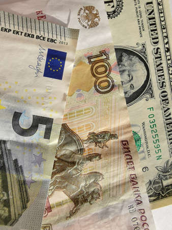 Paper notes of Euro, dollar and Russian rubles. Exchange rate. Buy currency sign. Exchange money. Dollar money cash. Investment concept. Reklamní fotografie