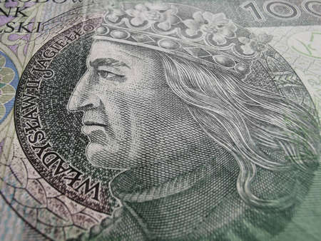 Polish Zloty. Official Currency of Poland in Denominations. Zlotych Macro Shot. Bank of Poland, Narodowy Bank Polski.