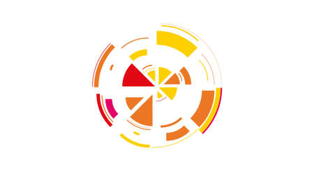 Color wheel. Simple drawing with slices, triangles, lines arranged in a circle to create footages, layouts, logos, screensavers in a dynamic style. Vector graphics. Graphic element. Design template. Иллюстрация