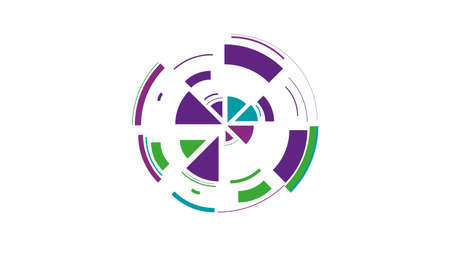 Color wheel. Simple drawing with slices, triangles, lines arranged in a circle to create footages, layouts, logos, screensavers in a dynamic style. Vector graphics. Graphic element. Design template.  イラスト・ベクター素材