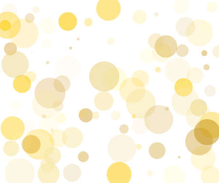 Yellow, gold transparent bubbles, circles on a white background. Bokeh preset, design element to create light, delicate patterns. Vector illustration