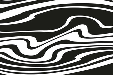 Digital image with a psychedelic stripes. Vector illustration. Texture with wavy, curves lines. Optical art background. Wave design black and white.