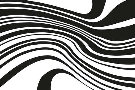Digital image with a psychedelic stripes. Vector illustration. Texture with wavy, curves lines. Optical art background. Wave design black and white. Ilustrace