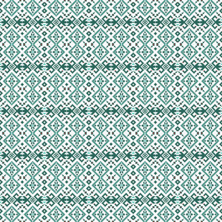Seamless Green Cell pattern in Scandinavian, Nordic style. Ethnic, tribal background. Pixel design. Abstract embroidery.
