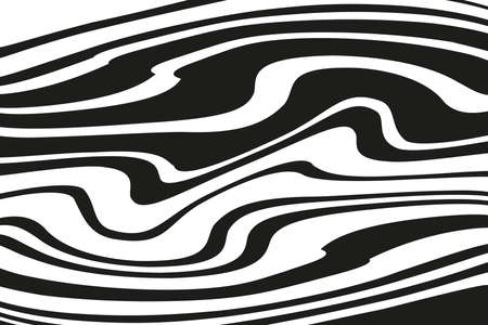Digital image with a psychedelic stripes. Vector illustration. Texture with wavy, curves lines. Optical art background. Wave design black and white. 向量圖像