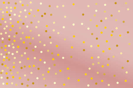 Golden glitter confetti on pink background. Festival pattern. Vector illustration.