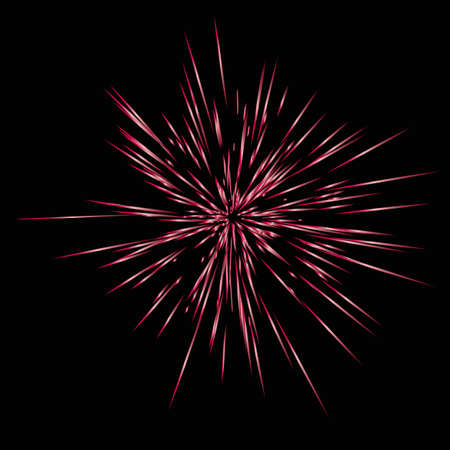 Realistic Colourful fireworks.  Vector illustration. Dynamic style. Abstract explosion, speed motion lines from the middle. Vector illustration.