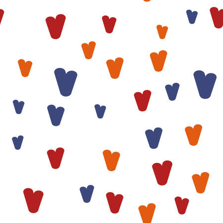 Vintage doodle seamless pattern with hearts. Cute repeating background. Vector pattern. Ilustrace