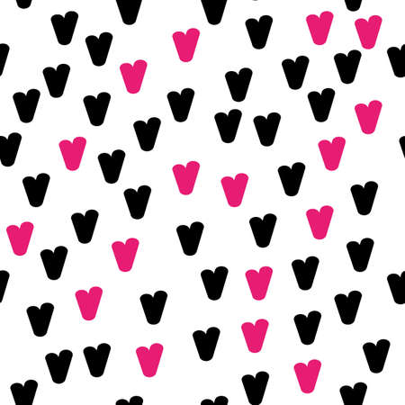 Vintage doodle seamless pattern with hearts. Cute repeating background. Vector pattern. 向量圖像