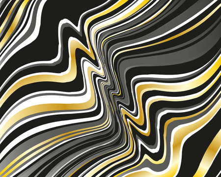 Dark dynamic background with black and golden wavy lines  Vector illustration