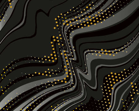 Dark dynamic background with black lines and golden dotes.  Vector illustration 向量圖像