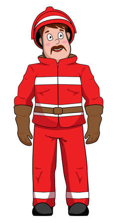 Firefighter in protective suit without background vector
