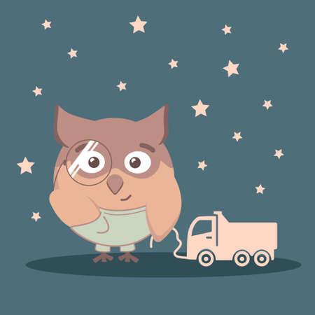Owl for children in shorts vector animal