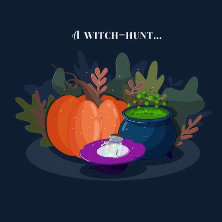 Halloween witch pumpkin hat potion cauldron vector.