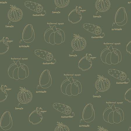 Vegetables pattern line fresh vector