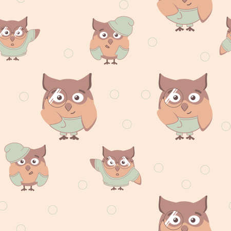 Pattern with different owls childrens vector.