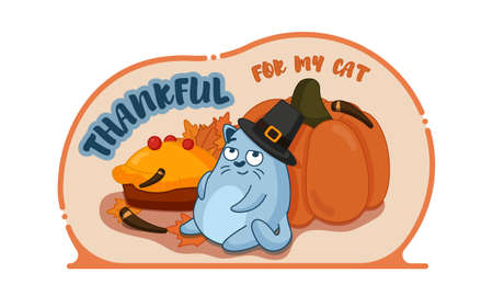 Thanksgiving illustration with a cat and a pumpkin.