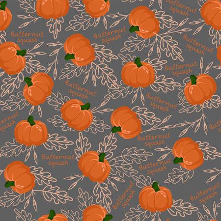 Orange pumpkin squash with leaves pattern vector.