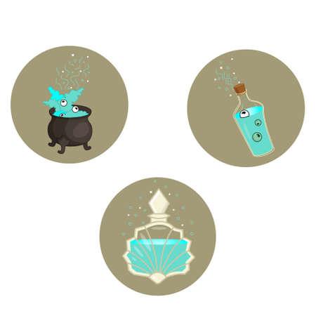 Magic icons a set of vector. Potion flask cauldron