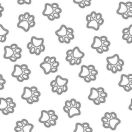 Cats paw footprint pattern black and white