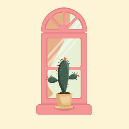 One cactus in a pot on the windowsill window glass curtains with a pattern.