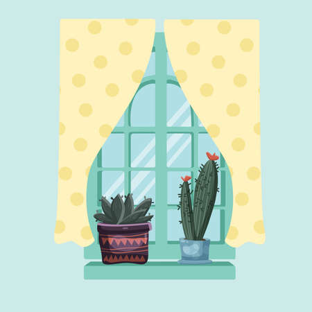A couple of cactuses on the window sill a glass window curtain with a pattern. Фото со стока