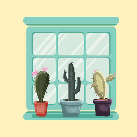 Cacti in pots on the sill of a large window glass with a background.