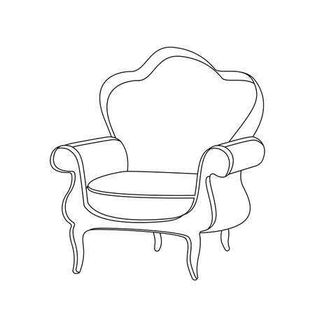 Royal chair interior silhouette icon in one line