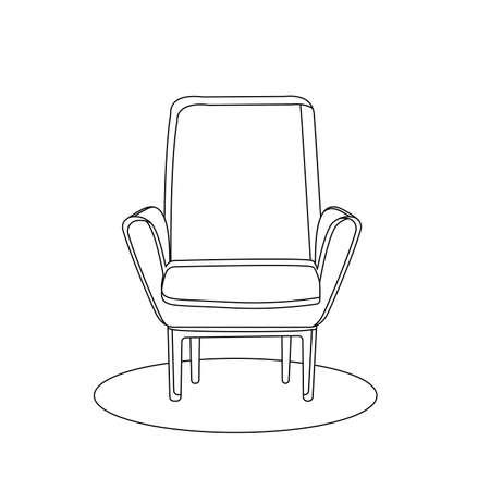Retro armchair interior silhouette icon in one line