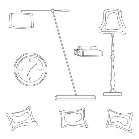 The set of elements of the interior line drawing icon Ilustracje wektorowe