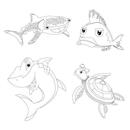 Sea animals and fish coloring book for children contour