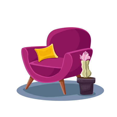 Upholstered chair with yellow pillow and flower interior vector
