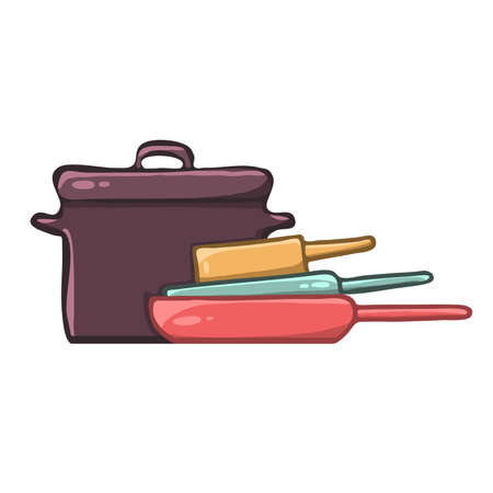 Pot and pans kitchen utensils vector image 向量圖像