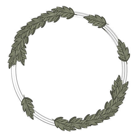 Wreath of a circle with dark leaves on a light background, vector frame Vettoriali