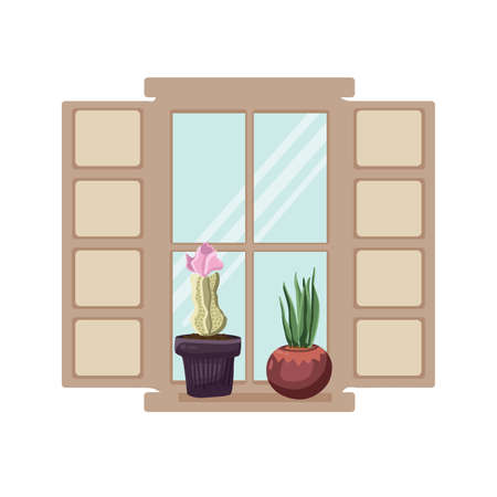 Two cacti on the window with shutters glass. Vector illustration