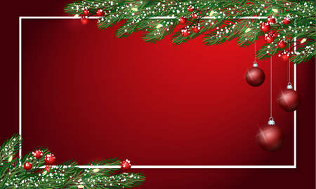 Christmas balls with lights, lights and snow. Festive cute New Year Greeting Card. Traditional winter season holiday banner template. Merry christmas Banque d'images - 111185927