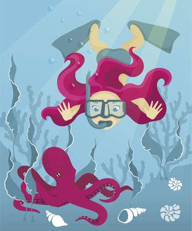 Chica de dibujos animados buceando en el fondo del mar. Mujer de pelo rojo lindo buceando en el mar, océano. Niña buceadora se sumerge en el fondo del mar para encontrarse con un pulpo Ilustración de vector