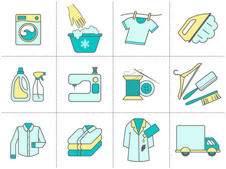 Dry cleaning, laundry and cloth washing service vector linear icons (labels, logos). Drying, ironing symbols, washing machine, stain removing, hanger, folded clothing, delivery, clothes repairing 向量圖像