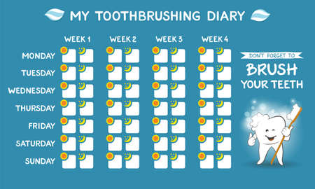 Toothbrushing diary - dental calendar for kids, stomatology planner for children. Cute smiling cartoon tooth with soft foam bubbles - oral hygiene concept. Tooth care banner. Week starts Monday.
