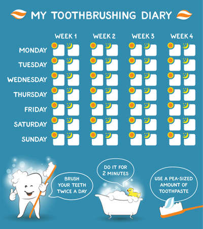 Toothbrushing diary with dental advice for kids, stomatology planner for children. Cute smiling cartoon tooth with soft foam bubbles - oral hygiene concept. Tooth care banner. Week starts Monday